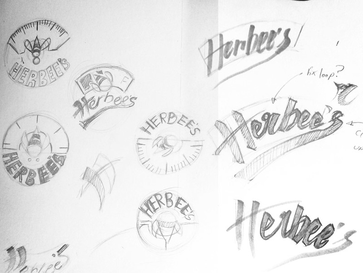 Initial logo sketches and concepts