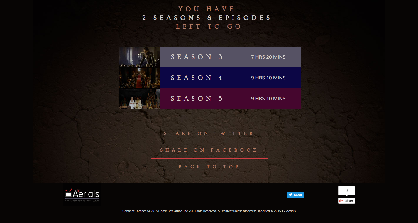 The site also provided a breakdown of each episode broken down organised into their corresponding seasons. Clicking on an individual season showed each episode, then directing the user to IMDB for further information.